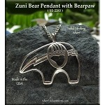 Sterling Silver Bear Pendant with Bearpaw, Native American Totem
