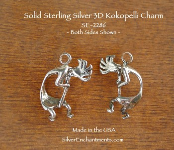 Sterling Silver Kokopelli Pendant, Southwestern Fertility God, 3D Curved Kokopelli Jewelry