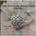 Sterling Silver Celtic Rosary Connector, Celtic Y Necklace Finding, 19x22mm