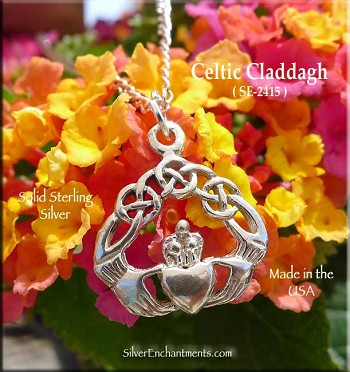 Sterling Silver Celtic Knot Claddagh Charm