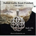 Sterling Silver Celtic Knot Pendant, Bailed Celtic Jewelry