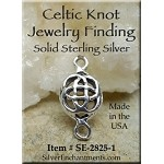 Sterling Silver Celtic Jewelry Findings, Celtic Jewelry Connectors, 15x8mm (1)