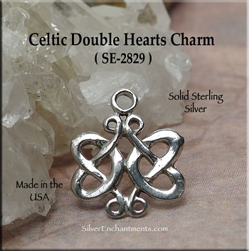 Sterling Silver Celtic Double Hearts Charm, Celtic Wedding Jewelry