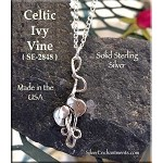 Sterling Silver Celtic Ivy Necklace, 32x12mm Ivy Pendant, Ivy Jewelry