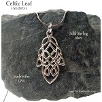 Sterling Silver Celtic Leaf Pendant, Celtic Leaf Necklace, Celtic Jewelry