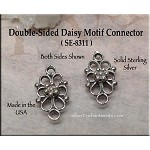 Sterling Silver Jewelry Connector, Ornate Double-Sided Flower Jewelry Link Findings (1)