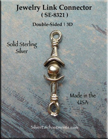 Sterling Silver Decorative Jewelry Link Finding 19mm