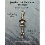 Sterling Silver Decorative Jewelry Link Finding, 19mm
