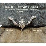 Sterling Silver Scallop Y Necklace Centerpiece, Bracelet Connector or Rosary Component