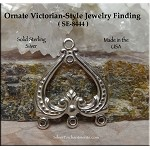 Sterling Silver Ornate Victorian Jewelry Connector Finding
