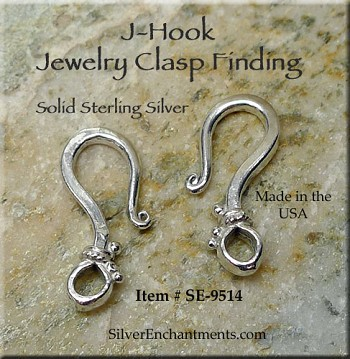 Sterling Silver J Hook Clasp, 20mm Dotted