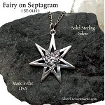 Sterling Silver Fairy on 7-pointed Fairy Star Pendant, Septagram Fairy Jewelry