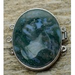 Moss Agate Box Clasp, 3-strand