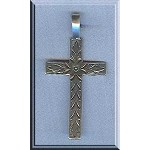 Sterling Silver Bailed Floral Cross Pendant