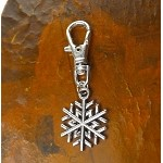 Silver Snowflake Zipper Pull Backpack Clip Purse Fob Holiday Swivel Clip On Charm