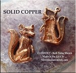 Solid COPPER Fox Pendant