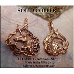 Solid COPPER Unicorn Pendant, Bailed Fancy