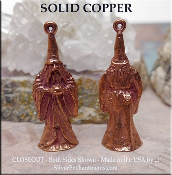 Solid COPPER Wizard Pendant, Merlin 3D - CLEARANCE