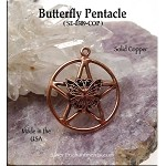 Solid COPPER Butterfly Pentacle Pendant