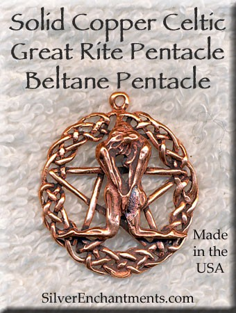 Solid COPPER Celtic Great Rite Pentacle Pendant
