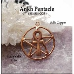 Solid COPPER Ankh Pentacle Pendant