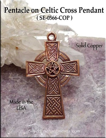 Solid COPPER Pentacle on Celtic Cross Pendant