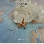 Solid Copper Wolf Charm, 3D - CLEARANCE
