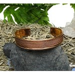 Copper Cuff Bracelet with Twisted Rope Pattern