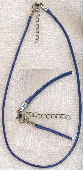 Navy Blue Necklace Cord with Extension Chain