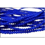3mm Round Czech Glass Beads Druk Neon BLUE
