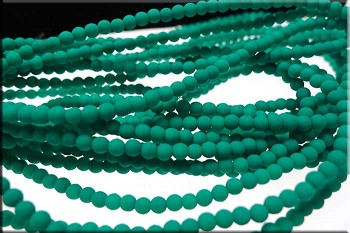 3mm Round Neon Emerald Czech Glass Druk Beads