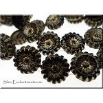 12mm Czech Glass Flower Beads BLACK with Gold Accents 2 Hole