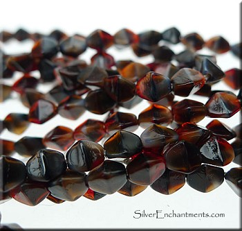 4x3mm Pinched Rice Red-Brown Tortoise Czech Glass Beads