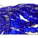 6mm CzechMates Two Hole Tile Beads COBALT