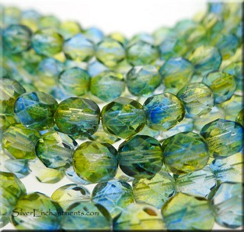 6mm Round Yellow-Blue Czech Glass Fire Polished Beads