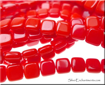 6mm Czechmates Opaque Red 2 Hole Tile Beads