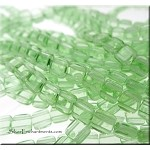 6mm CzechMates Two Hole Tile Beads Light PERIDOT