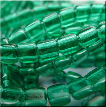 6mm Czechmates Green Emerald 2 Hole Tile Beads