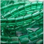 6mm CzechMates Two Hole Tile Beads GREEN EMERALD