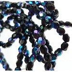 ZSOLDOUT / Czech Glass Beads, Fire Polished Black Cobalt-Purple AB 4mm