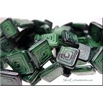 Czech Glass Greek Key Tile Beads, Green-Black