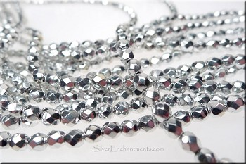 Czech Glass Beads, Bright Silver 4mm Fire Polished (50)