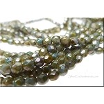 4mm GREEN LUSTER PICASSO Fire Polished Czech Glass Beads