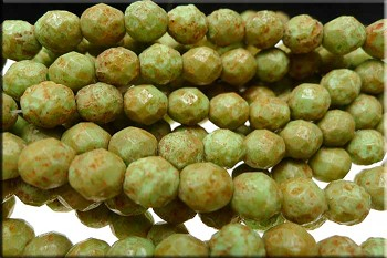 Pea Green Stone Picasso 8mm Faceted Round Czech Glass Fire Polished Beads Strand