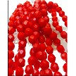 6mm Round Opaque Red Fire-Polished Czech Glass Beads