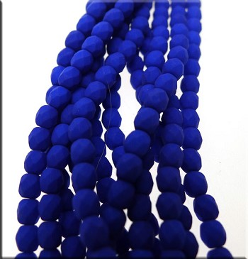 4mm Round Neon Blue Czech Glass Fire Polished Beads