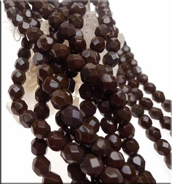 6mm Round Wild Raisin Czech Glass Fire Polished Beads