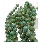 8mm TURQUOISE PICASSO Rosebud Czech Glass Beads