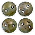6mm Green Ultra Luster CzechMates 2-Hole Lentil Czech Glass Bead
