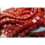 6mm CzechMates Two Hole Tile Beads RED BLACK Picasso
